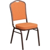 Flash Furniture HERCULES Series Crown Back Stacking Banquet Chair with Orange Fabric and 2.5'' Thick Seat - Copper Vein Frame