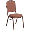 HERCULES Series Crown Back Stacking Banquet Chair with Brown Fabric and 2.5'' Thick Seat - Copper Vein Frame