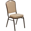 HERCULES Series Crown Back Stacking Banquet Chair with Tan Vinyl and 2.5'' Thick Seat - Copper Vein Frame