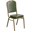HERCULES Series Crown Back Stacking Banquet Chair with Green Vinyl and 2.5'' Thick Seat - Gold Frame