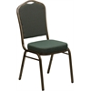 HERCULES Series Crown Back Stacking Banquet Chair with Green Patterned Fabric and 2.5'' Thick Seat - Gold Vein Frame