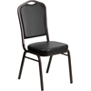 HERCULES Series Crown Back Stacking Banquet Chair with Black Vinyl and 2.5'' Thick Seat - Gold Vein Frame