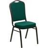 HERCULES Series Crown Back Stacking Banquet Chair with Green Fabric and 2.5'' Thick Seat - Gold Vein Frame