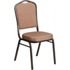 Flash Furniture HERCULES Series Crown Back Stacking Banquet Chair with Gold Diamond Patterned Fabric and 2.5'' Thick Seat - Gold Vein Frame
