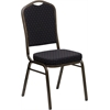 HERCULES Series Crown Back Stacking Banquet Chair with Black Patterned Fabric and 2.5'' Thick Seat - Gold Vein Frame