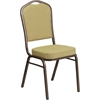 Flash Furniture HERCULES Series Crown Back Stacking Banquet Chair with Citron Fabric and 2.5'' Thick Seat - Gold Vein Frame