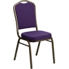 HERCULES Series Crown Back Stacking Banquet Chair with Purple Fabric and 2.5'' Thick Seat - Gold Vein Frame