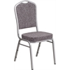 Flash Furniture HERCULES Series Crown Back Stacking Banquet Chair with Herringbone Fabric and 2.5'' Thick Seat - Silver Frame