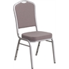 HERCULES Series Crown Back Stacking Banquet Chair with Gray Dot Fabric and 2.5'' Thick Seat - Silver Frame