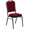 HERCULES Series Crown Back Stacking Banquet Chair with Burgundy Fabric and 2.5'' Thick Seat - Silver Vein Frame