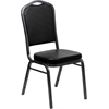 Flash Furniture HERCULES Series Crown Back Stacking Banquet Chair with Black Vinyl and 2.5'' Thick Seat - Silver Vein Frame