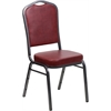 HERCULES Series Crown Back Stacking Banquet Chair with Burgundy Vinyl and 2.5'' Thick Seat - Silver Vein Frame
