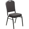 HERCULES Series Crown Back Stacking Banquet Chair with Gray Fabric and 2.5'' Thick Seat - Silver Vein Frame