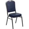 HERCULES Series Crown Back Stacking Banquet Chair with Navy Vinyl and 2.5'' Thick Seat - Silver Vein Frame