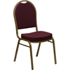 HERCULES Series Dome Back Stacking Banquet Chair with Burgundy Patterned Fabric and 2.5'' Thick Seat - Gold Frame