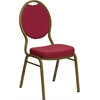 Flash Furniture HERCULES Series Teardrop Back Stacking Banquet Chair with Burgundy Patterned Fabric and 2.5'' Thick Seat - Gold Frame