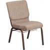 HERCULES Series 18.5''W Beige Fabric Church Chair with 4.25'' Thick Seat, Book Rack - Copper Vein Frame