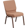 HERCULES Series 18.5''W Caramel Fabric Church Chair with 4.25'' Thick Seat, Cup Book Rack - Copper Vein Frame