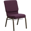 HERCULES Series 18.5''W Plum Fabric Church Chair with 4.25'' Thick Seat, Communion Cup Book Rack - Gold Vein Frame