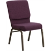 Flash Furniture HERCULES Series 18.5''W Plum Fabric Stacking Church Chair with 4.25'' Thick Seat - Gold Vein Frame