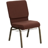 HERCULES Series 18.5''W Brown Fabric Church Chair with 4.25'' Thick Seat, Communion Cup Book Rack - Gold Vein Frame