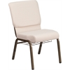 HERCULES Series 18.5''W Beige Fabric Church Chair with 4.25'' Thick Seat, Cup Book Rack - Gold Vein Frame