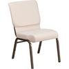HERCULES Series 18.5''W Beige Fabric Stacking Church Chair with 4.25'' Thick Seat - Gold Vein Frame