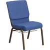 HERCULES Series 18.5''W Church Chair in Blue Fabric with Cup Book Rack - Gold Vein Frame