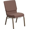 HERCULES Series 18.5''W Brown Dot Fabric Church Chair with 4.25'' Thick Seat, Book Rack - Gold Vein Frame