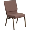HERCULES Series 18.5''W Brown Dot Fabric Stacking Church Chair with 4.25'' Thick Seat - Gold Vein Frame