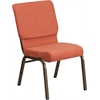 HERCULES Series 18.5''W Cinnamon Fabric Stacking Church Chair with 4.25'' Thick Seat - Gold Vein Frame