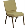 HERCULES Series 18.5''W Moss Green Fabric Church Chair with 4.25'' Thick Seat, Cup Book Rack - Gold Vein Frame