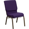 HERCULES Series 18.5''W Royal Purple Fabric Church Chair with 4.25'' Thick Seat, Communion Cup Book Rack - Gold Vein Frame