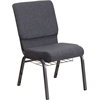 HERCULES Series 18.5''W Dark Gray Fabric Church Chair with 4.25'' Thick Seat, Book Rack - Silver Vein Frame