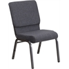 HERCULES Series 18.5''W Stacking Church Chair in Dark Gray Fabric - Silver Vein Frame