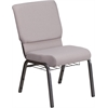 HERCULES Series 18.5''W Gray Dot Fabric Church Chair with 4.25'' Thick Seat, Book Rack - Silver Vein Frame