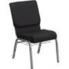 Flash Furniture HERCULES Series 18.5''W Black Patterned Fabric Church Chair with 4.25'' Thick Seat, Communion Cup Book Rack - Silver Vein Frame