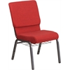 HERCULES Series 18.5''W Red Fabric Church Chair with 4.25'' Thick Seat, Cup Book Rack - Silver Vein Frame