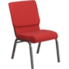 HERCULES Series 18.5''W Red Fabric Stacking Church Chair with 4.25'' Thick Seat - Silver Vein Frame