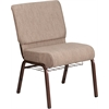 HERCULES Series 21'' Wide Beige Fabric Church Chair with 4'' Thick Seat, Book Rack - Copper Vein Frame