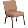 HERCULES Series 21'' Extra Wide Caramel Fabric Stacking Church Chair with 4'' Thick Seat - Copper Vein Frame
