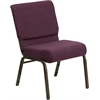 Flash Furniture HERCULES Series 21'' Extra Wide Plum Fabric Stacking Church Chair with 4'' Thick Seat - Gold Vein Frame