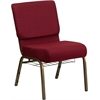 HERCULES Series 21'' Extra Wide Burgundy Fabric Church Chair with 4'' Thick Seat, Communion Cup Book Rack - Gold Vein Frame