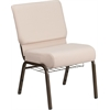 HERCULES Series 21'' Wide Beige Fabric Church Chair with 4'' Thick Seat, Cup Book Rack - Gold Vein Frame