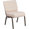 Flash Furniture HERCULES Series 21'' Extra Wide Beige Fabric Stacking Church Chair with 4'' Thick Seat - Gold Vein Frame
