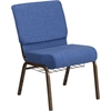 HERCULES Series 21'' Wide Blue Fabric Church Chair with 4'' Thick Seat, Cup Book Rack - Gold Vein Frame