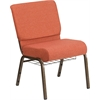 HERCULES Series 21''W Church Chair in Cinnamon Fabric with Book Rack - Gold Vein Frame