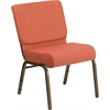 HERCULES Series 21'' Extra Wide Cinnamon Fabric Stacking Church Chair with 4'' Thick Seat - Gold Vein Frame
