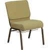 HERCULES Series 21'' Wide Moss Green Fabric Church Chair with 4'' Thick Seat, Cup Book Rack - Gold Vein Frame