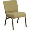 HERCULES Series 21'' Extra Wide Moss Green Fabric Stacking Church Chair with 4'' Thick Seat - Gold Vein Frame